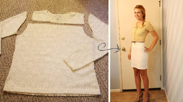 lace shirt refashion: Wide waistband lace skirt with snaps