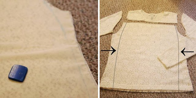 Make a lace skirt out of an old shirt