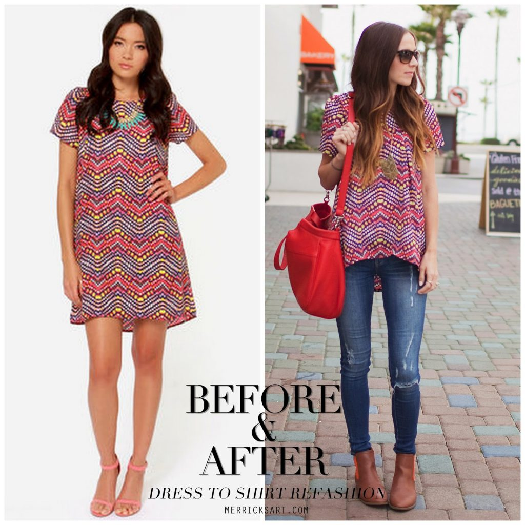 dress to shirt refashion