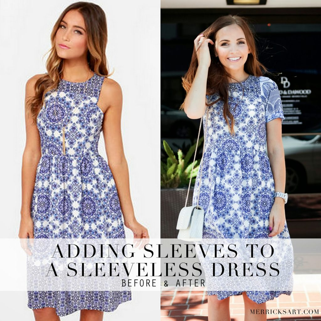 Merricks art style sewing for the everyday girldiy friday diy friday adding sleeves to a sleeveless dress refashion tutorial ombrellifo Images
