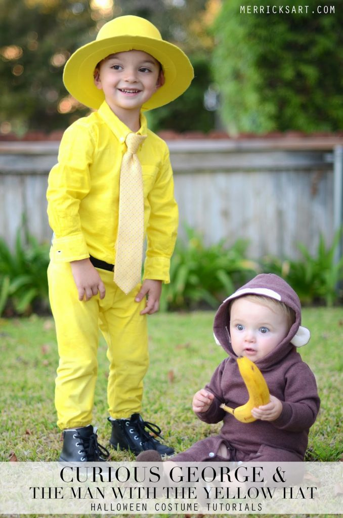 Man with the yellow hat costume adults