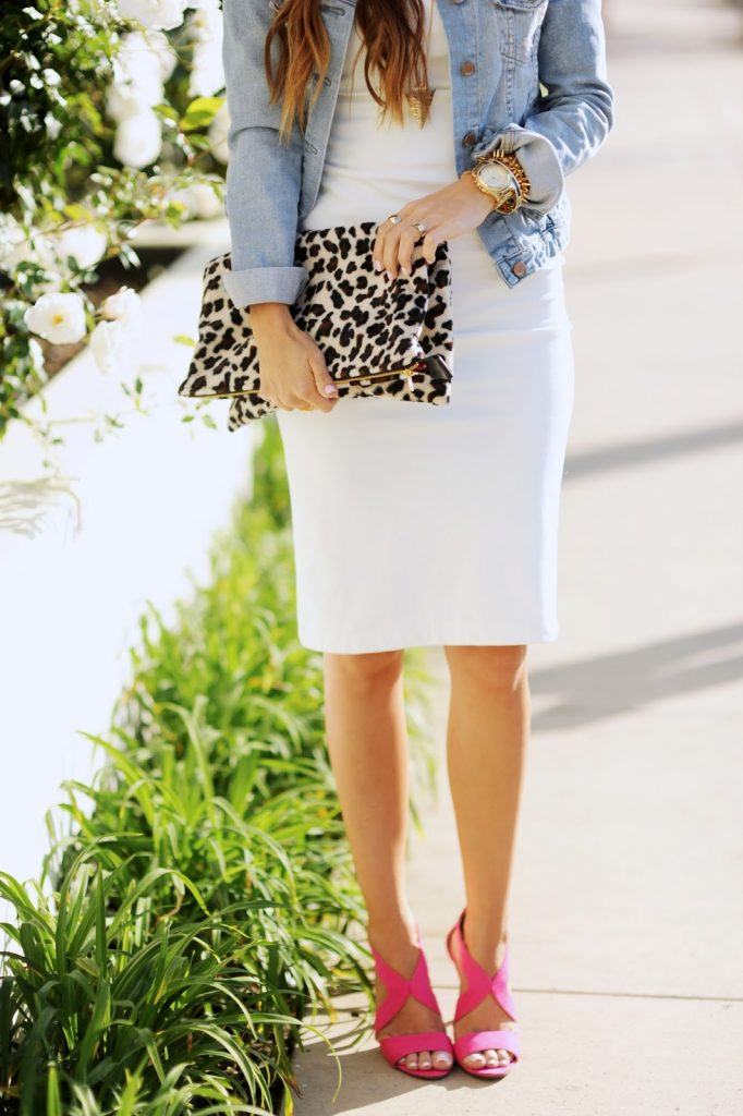 Merrick's Art Leopard Clutch and White Bodycon Dress