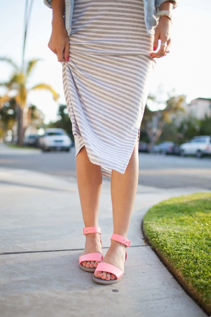 Merrick's Art   Midi Dress and Neon Sandals