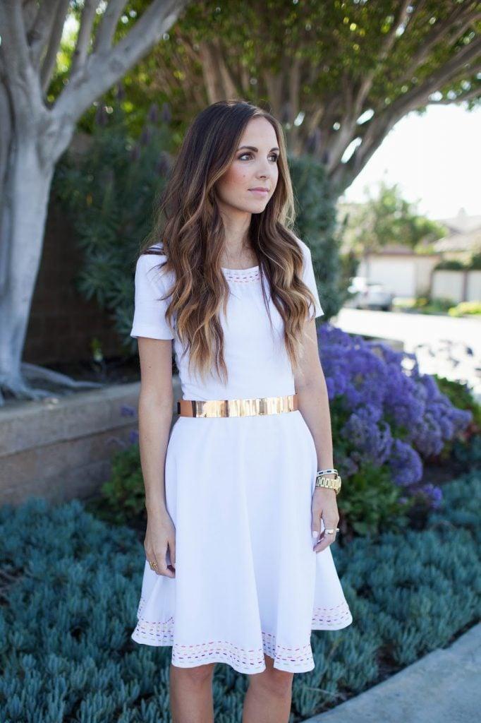 Merrick's Art White Dress Gold Belt