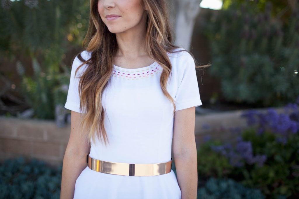 Merrick's Art Gold Belt White Dress