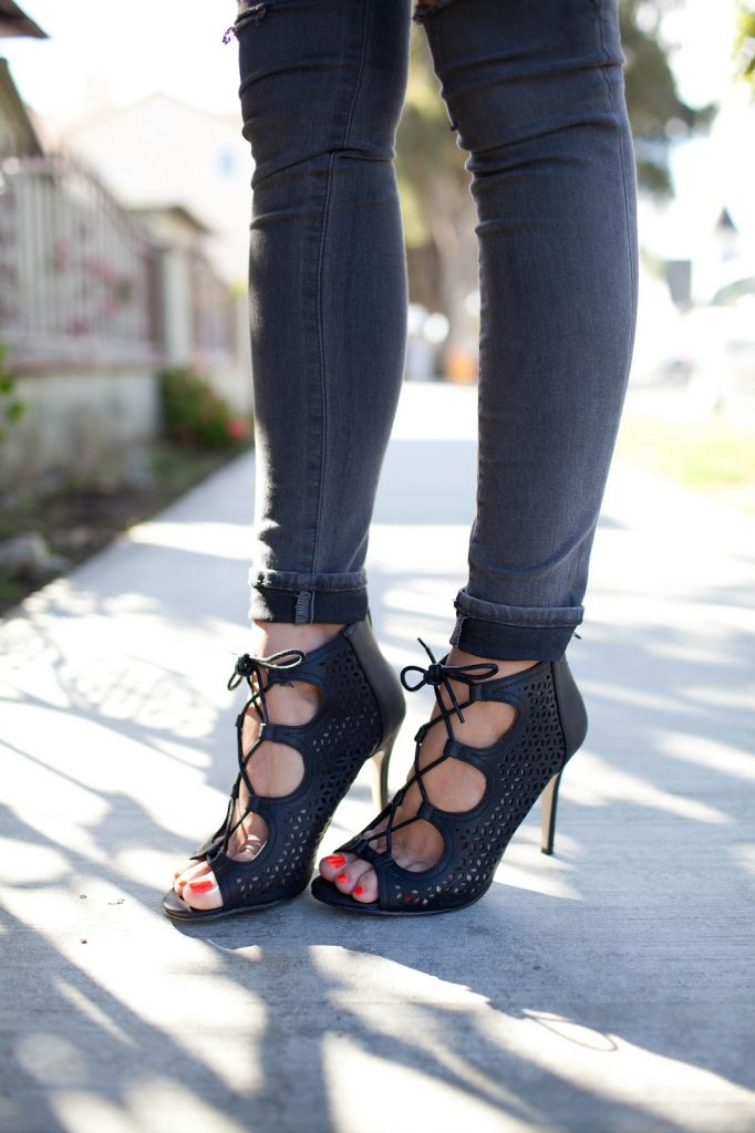 Merrick's Art Lace Up Black Heels