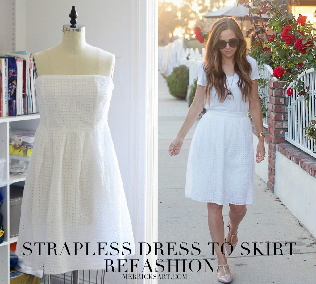Merrick's Art | Easy Strapless Dress to Skirt Refashion