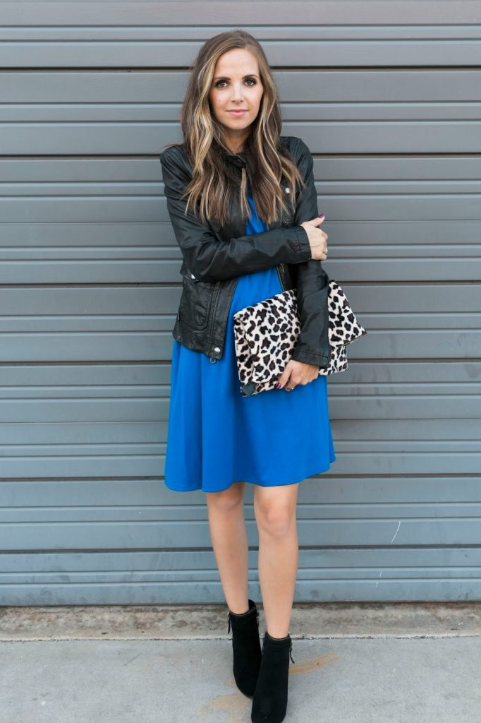 knee length dress with ankle boots