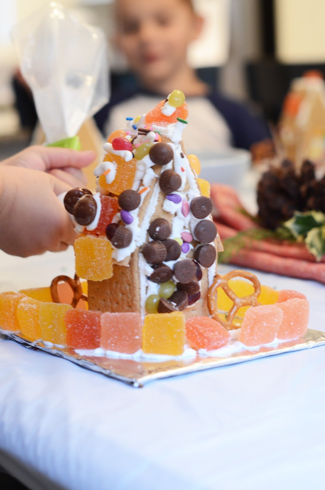 candy covered graham cracker gingerbread house