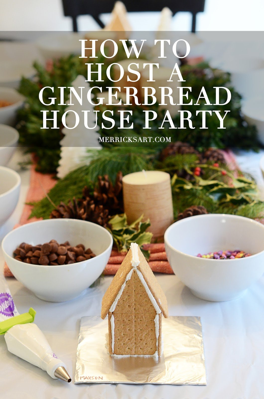 gingerbread house with text for pinterest