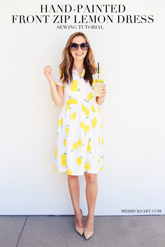 Learn how to sew this lemon fabric fit and flare dress. It's a perfect sewing project for summer