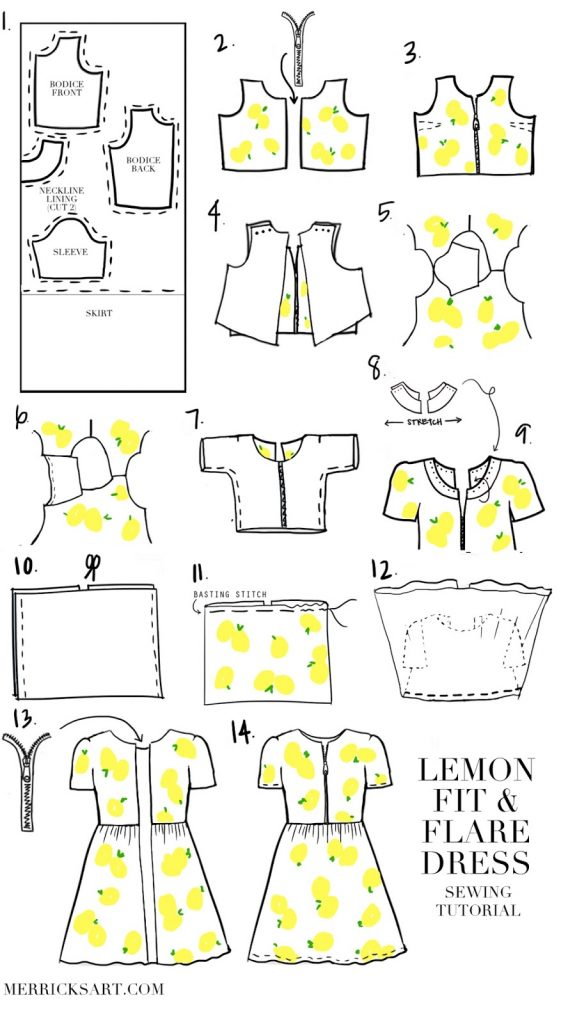 Use these step by step illustrated instructions to sew your own fit and flare dress