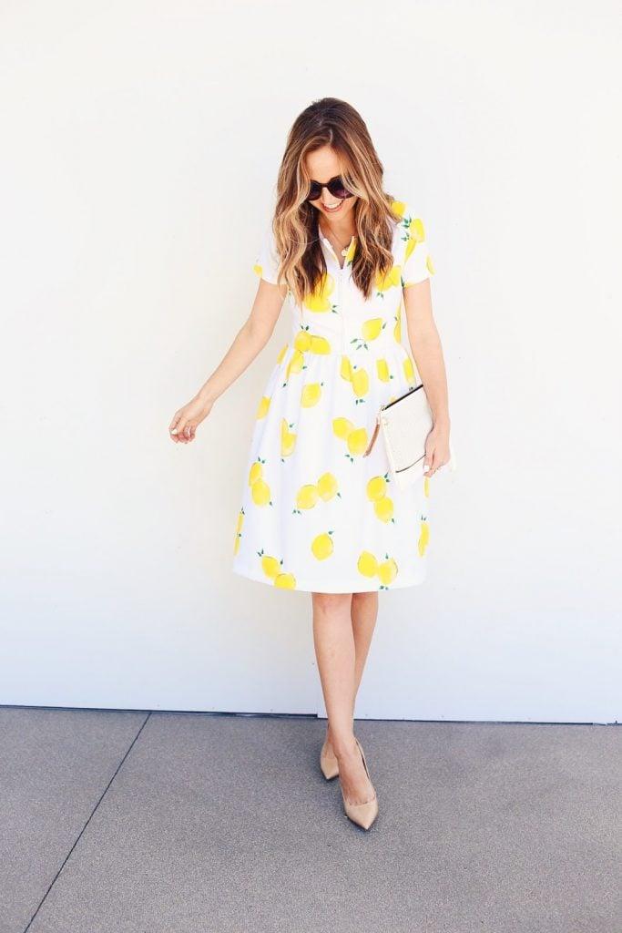 Lemon Print Fabric Fit and Flare Dress Pattern