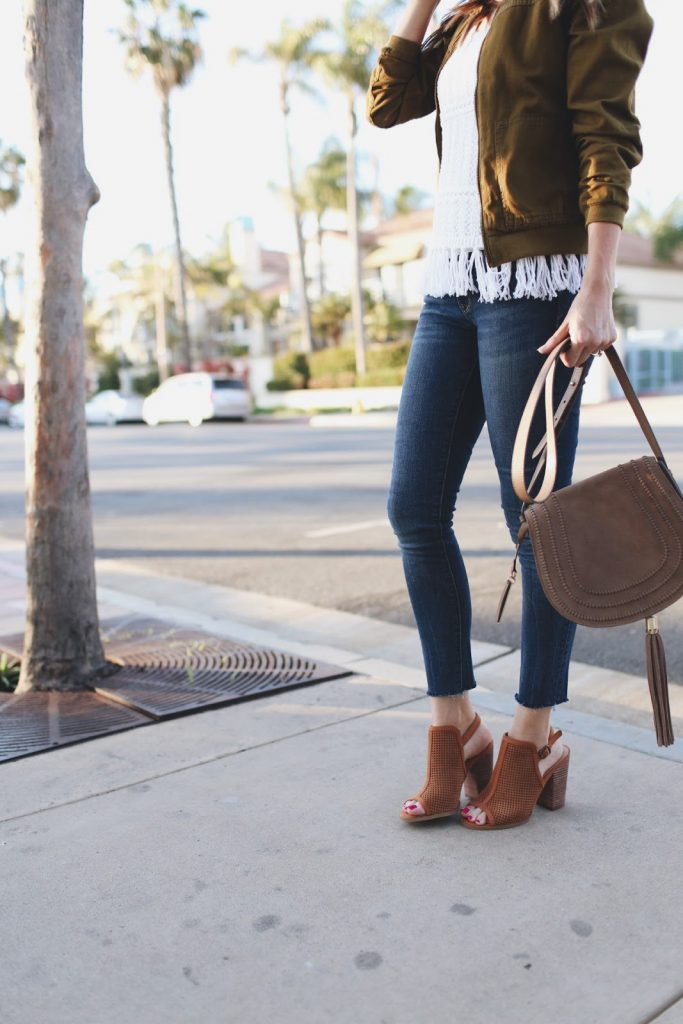 Raw edge jeans and perforated booties | Merrick's Art