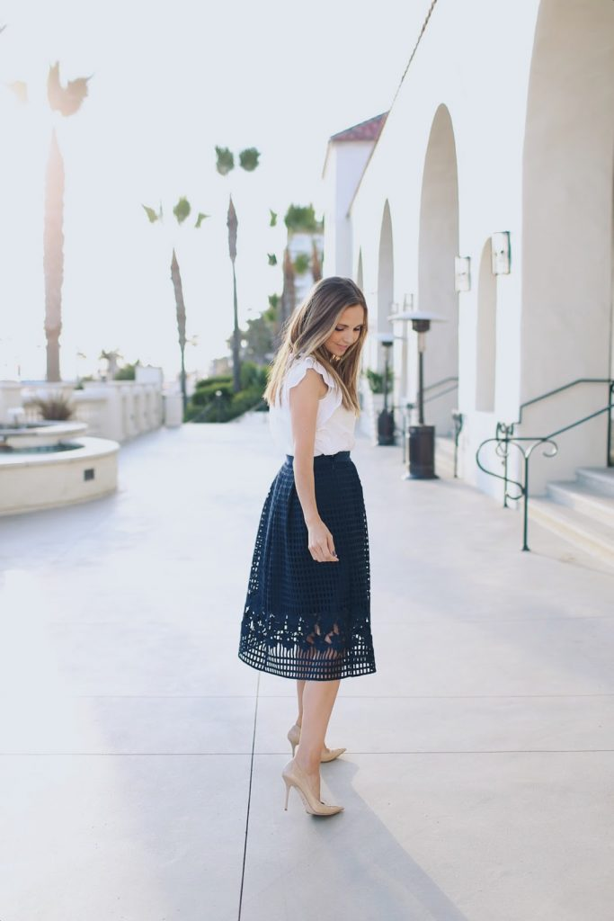 Navy Skirt White blouse