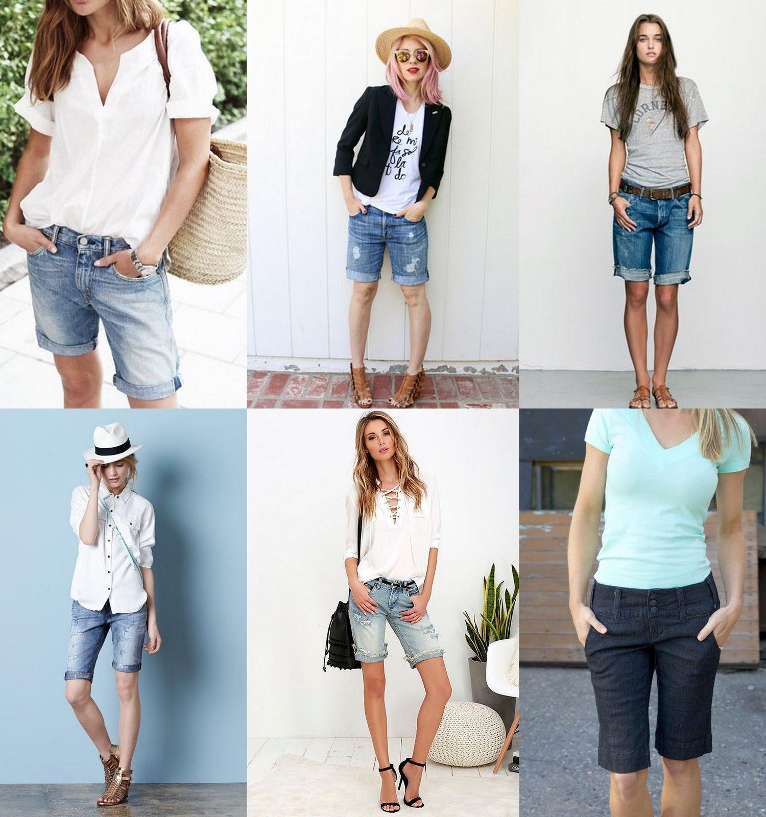 boyfriend bermuda shorts outfit ideas