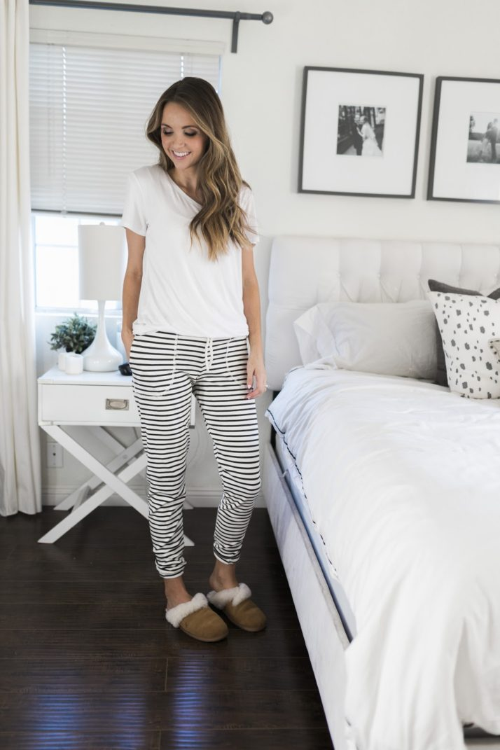 white t-shirt with striped lounge pants