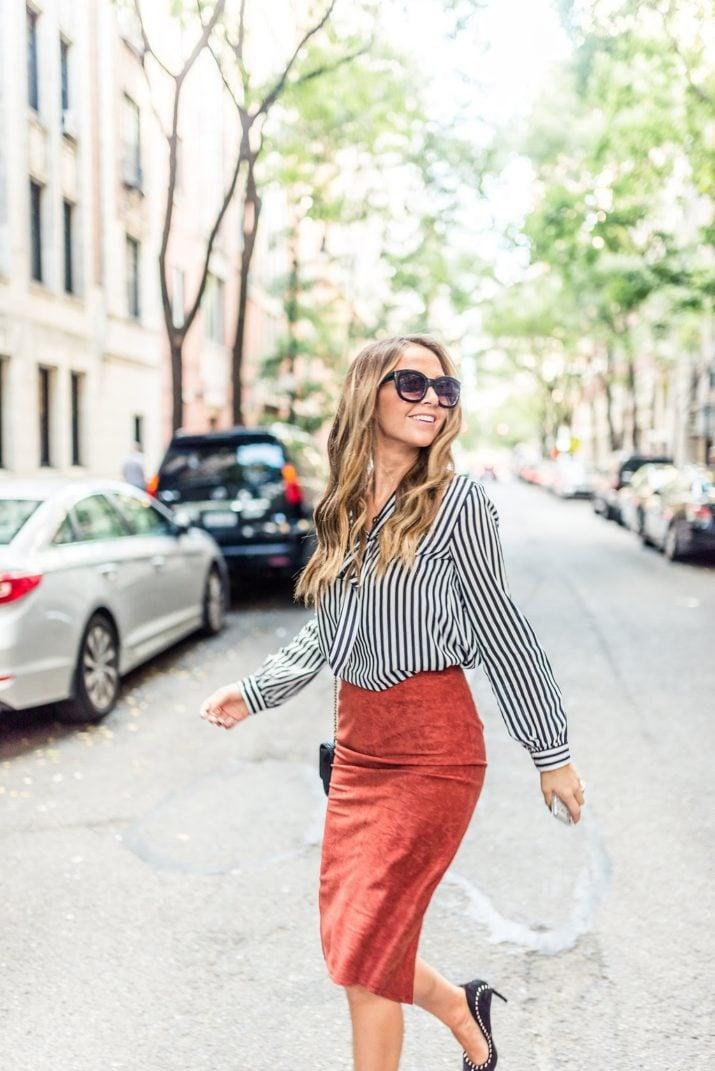 pencil skirt striped blouse