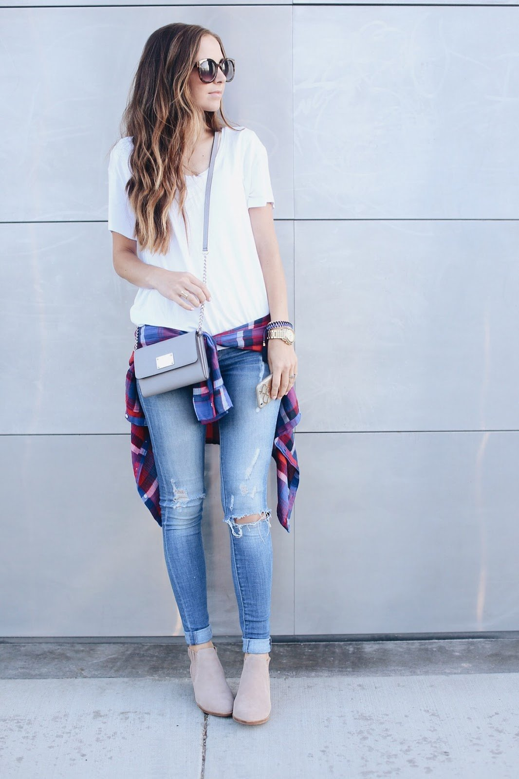 white t-shirt with jeans and a flannel shirt