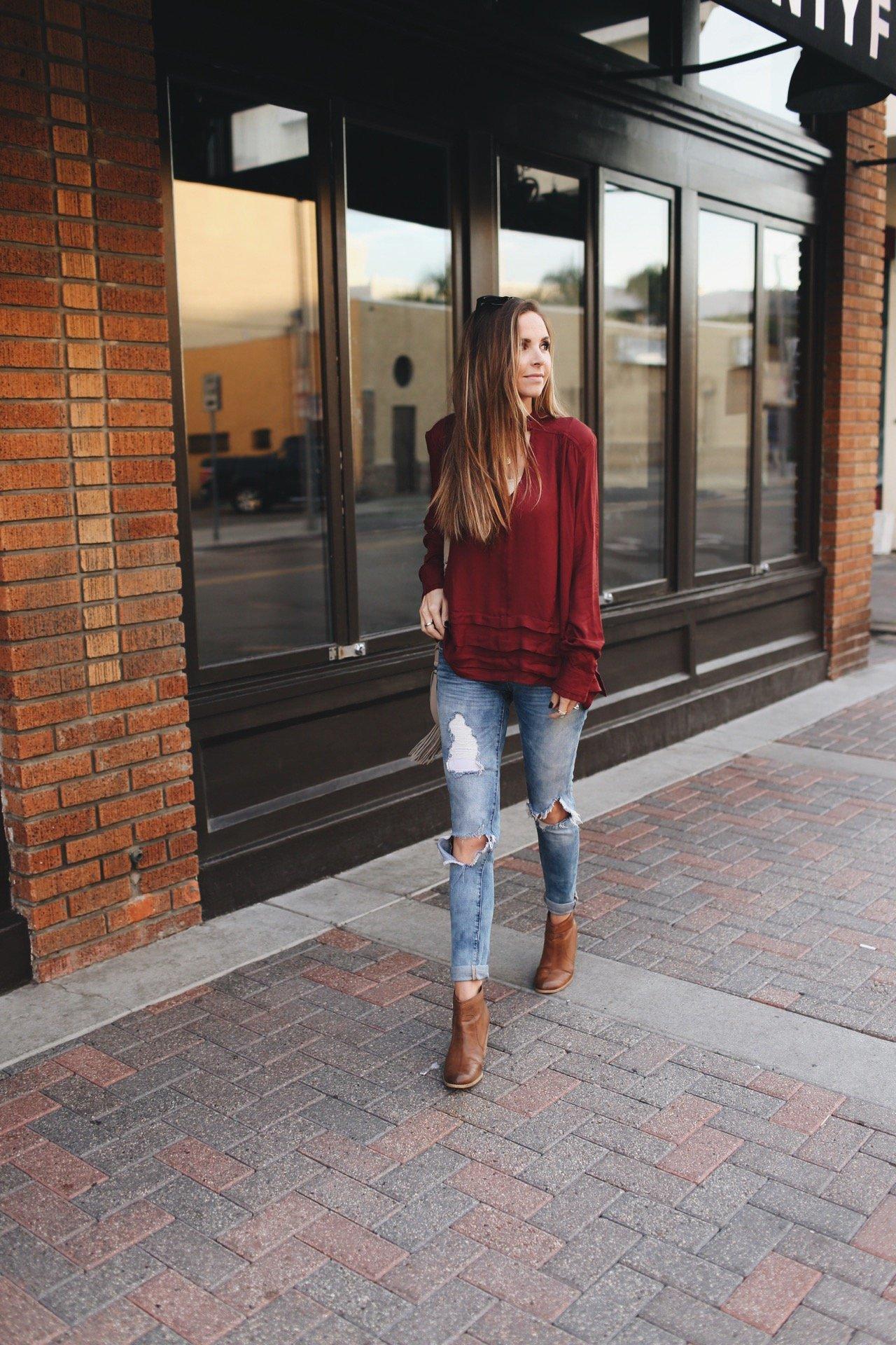 Merrick's Art Burgundy Top Boyfriend Jeans