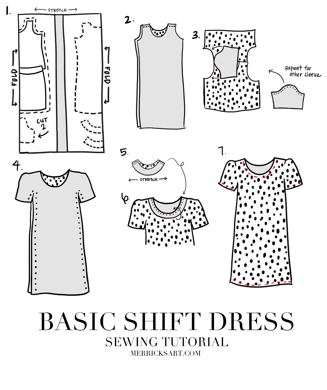 EASY SHIFT DRESS SEWING TUTORIAL | Merrick\'s Art | Merrick\'s Art
