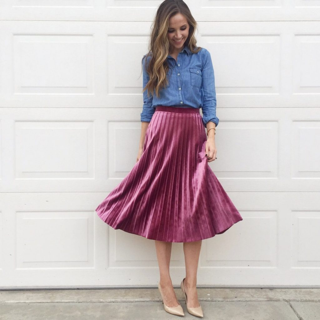 Merrick's Art | Velvet Pleated Midi Skirt