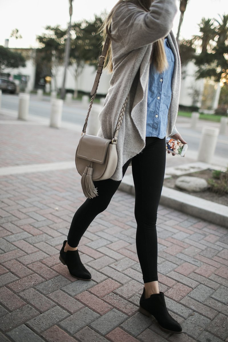 336a9f326 And black ankle boots work great with black leggings or black jeans! I love  love these leggings (they're lightweight but not see-through, and don't  stretch ...