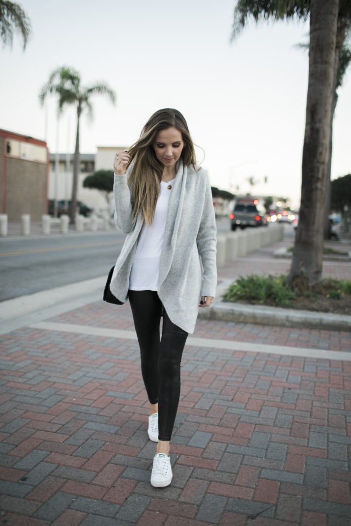 leather leggings, a cardigan sweater, white tee