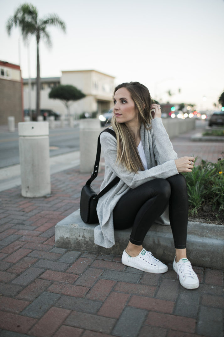 leather leggings with white sneakers