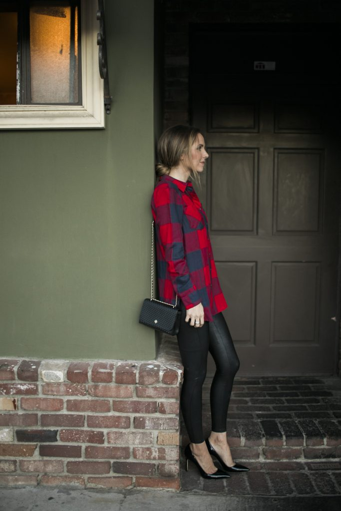 Merrick's Art Plaid Shirt Leather Leggings