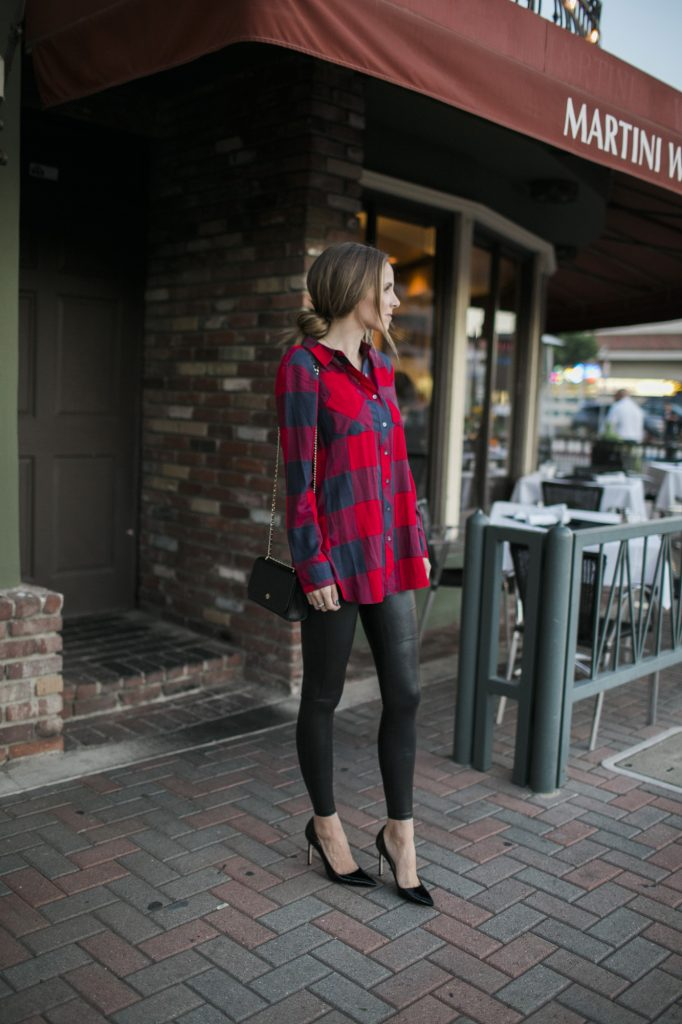 Merrick's Art Plaid Top Spanx Leather Leggings