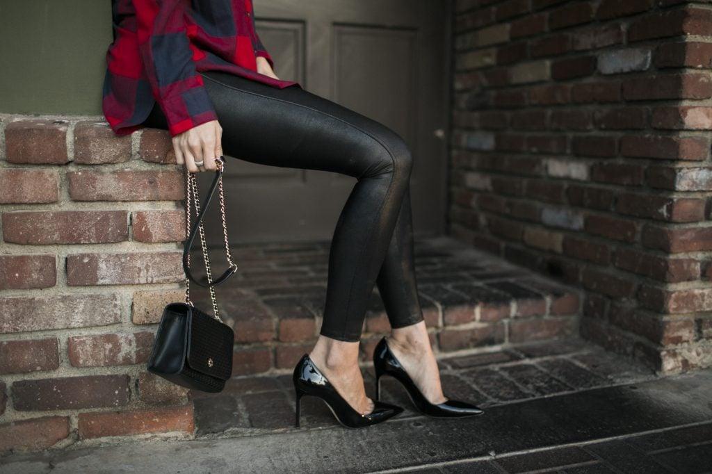 Merrick's Art Plaid Top Leather Leggings
