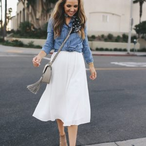 denim shirt with midi skirt