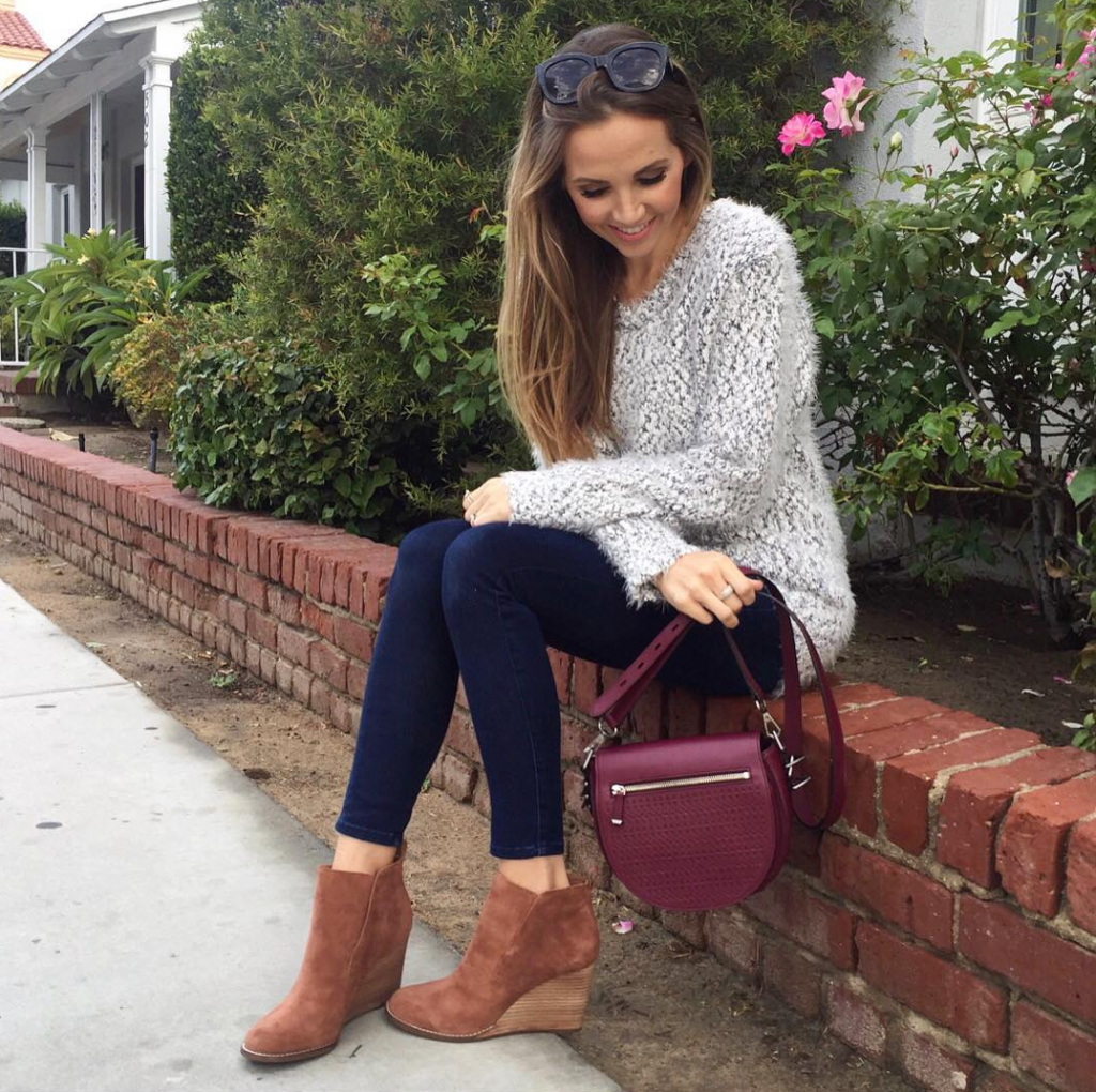 Merrick's Art   Eyelash Cozy Grey Sweater and Ankle Boots