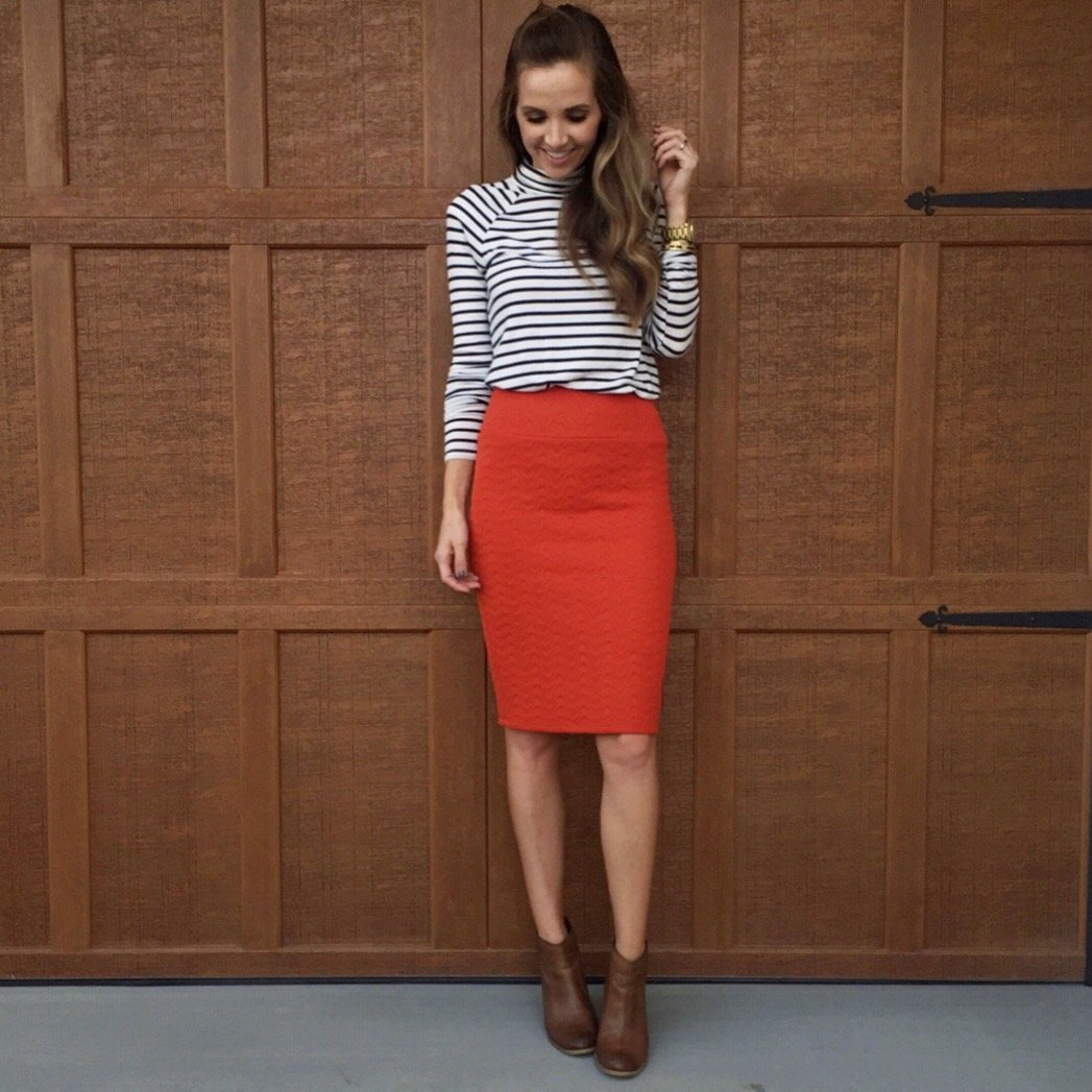 turtleneck and pencil skirt