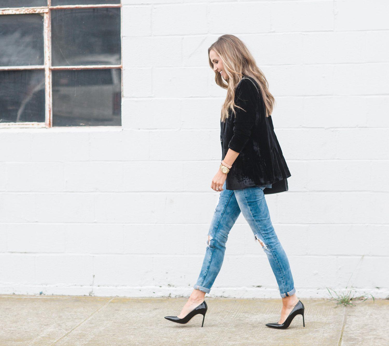 Merrick's Art Velvet Blazer and Boyfriend Jeans
