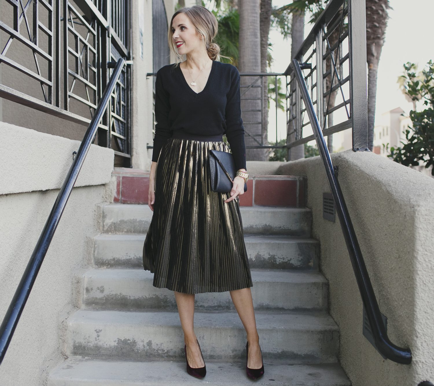 Merrick's Art Gold Pleated Skirt