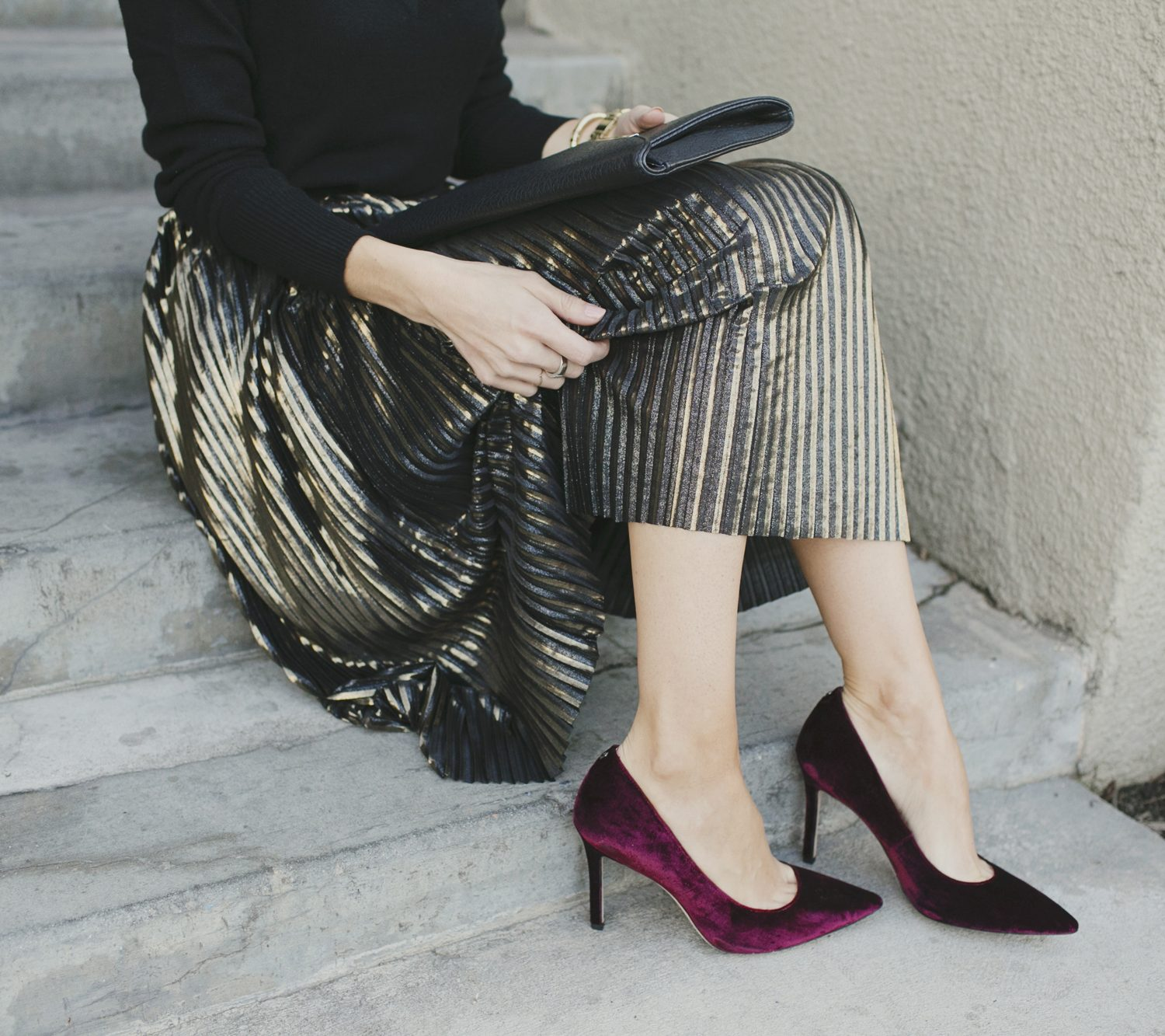 Merrick's Art Gold Skirt and Velvet Pumps