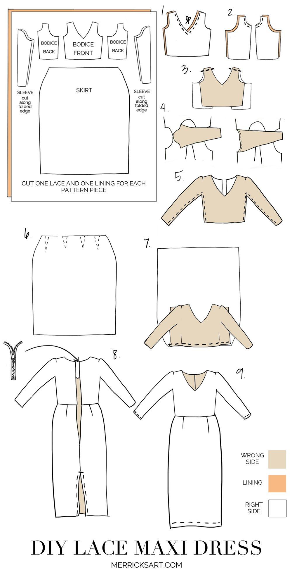 Merrick's Art Lace Maxi Dress Sewing Tutorial