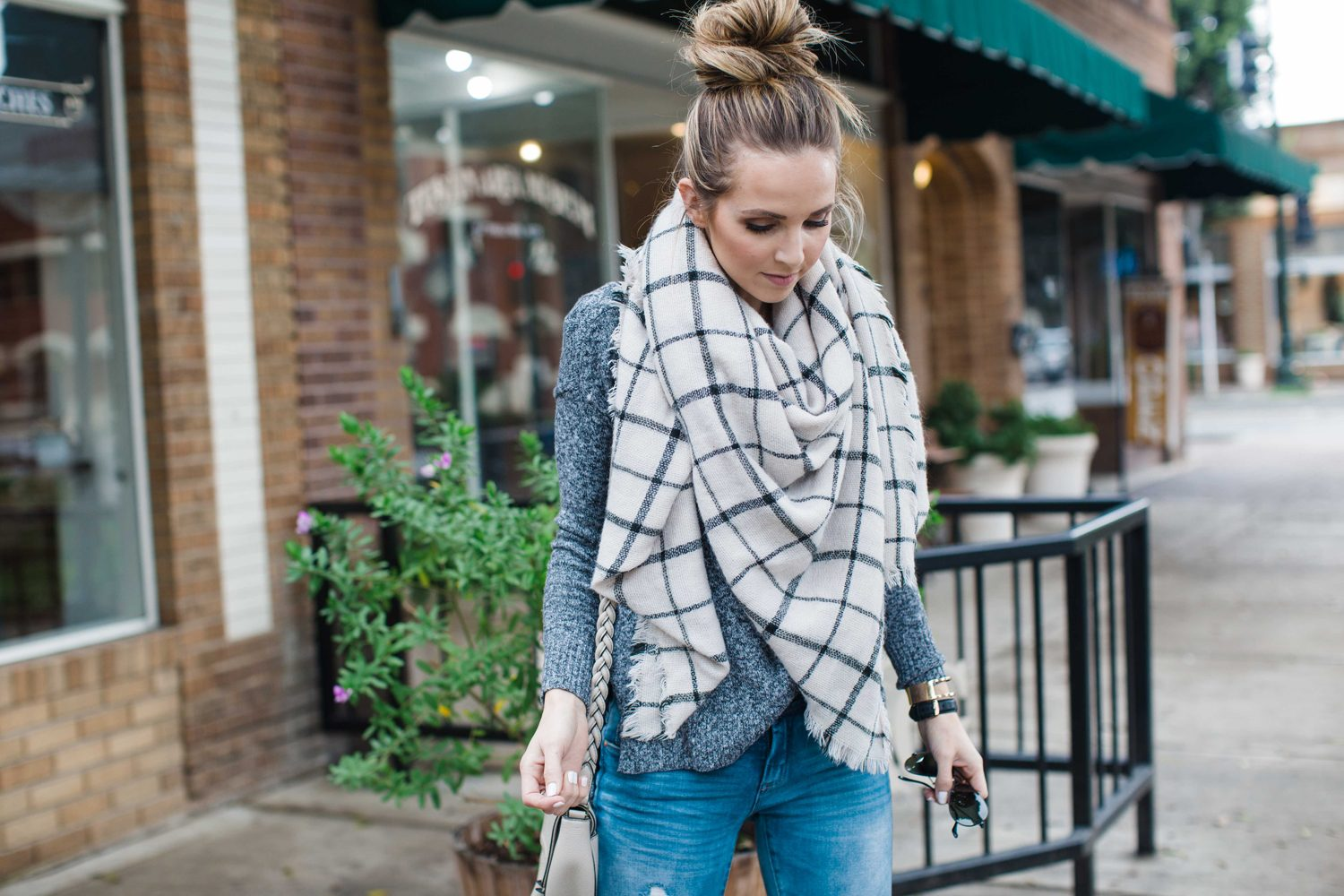 Merrick's Art Checked Blanket Scarf