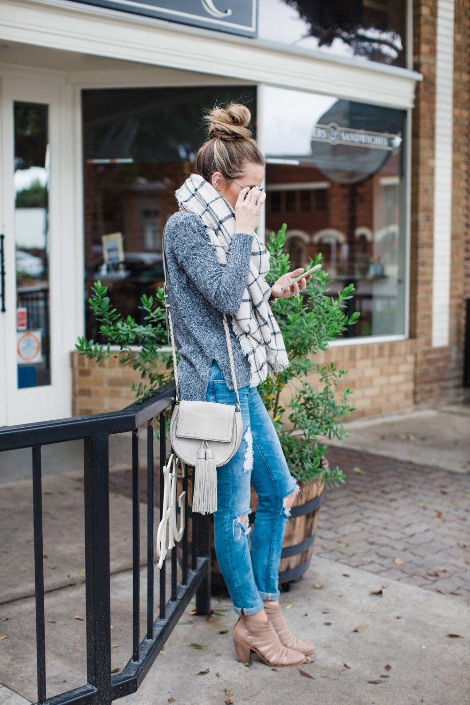Merrick's Art Boyfriend Jeans and Blanket Scarf