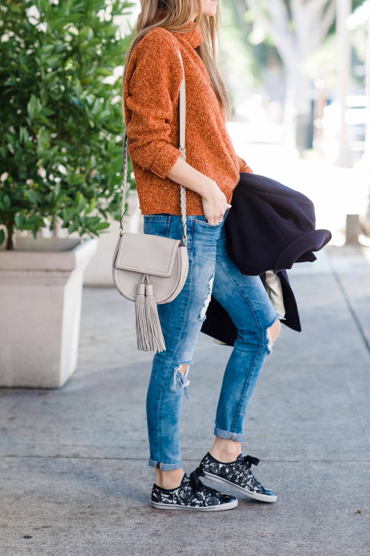 Merrick's Art Boyfriend Jeans, Sneakers, Turtleneck