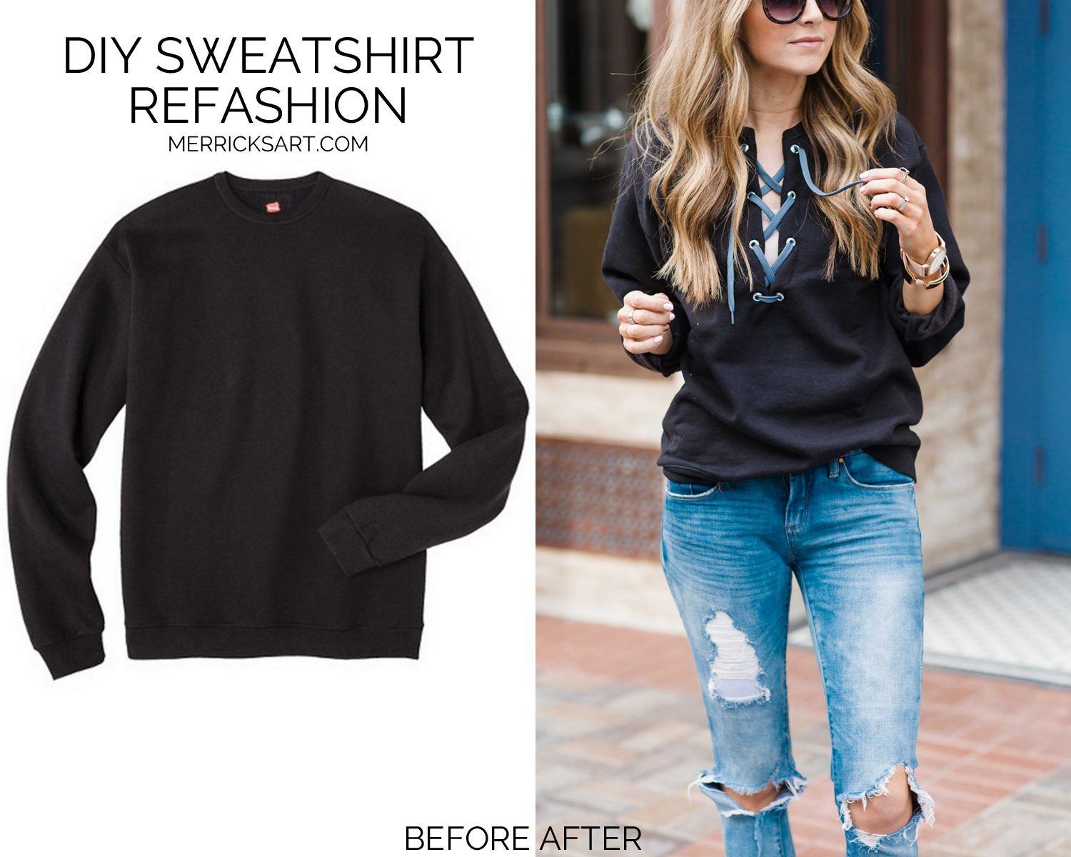 Before and After Sweatshirt Refashion
