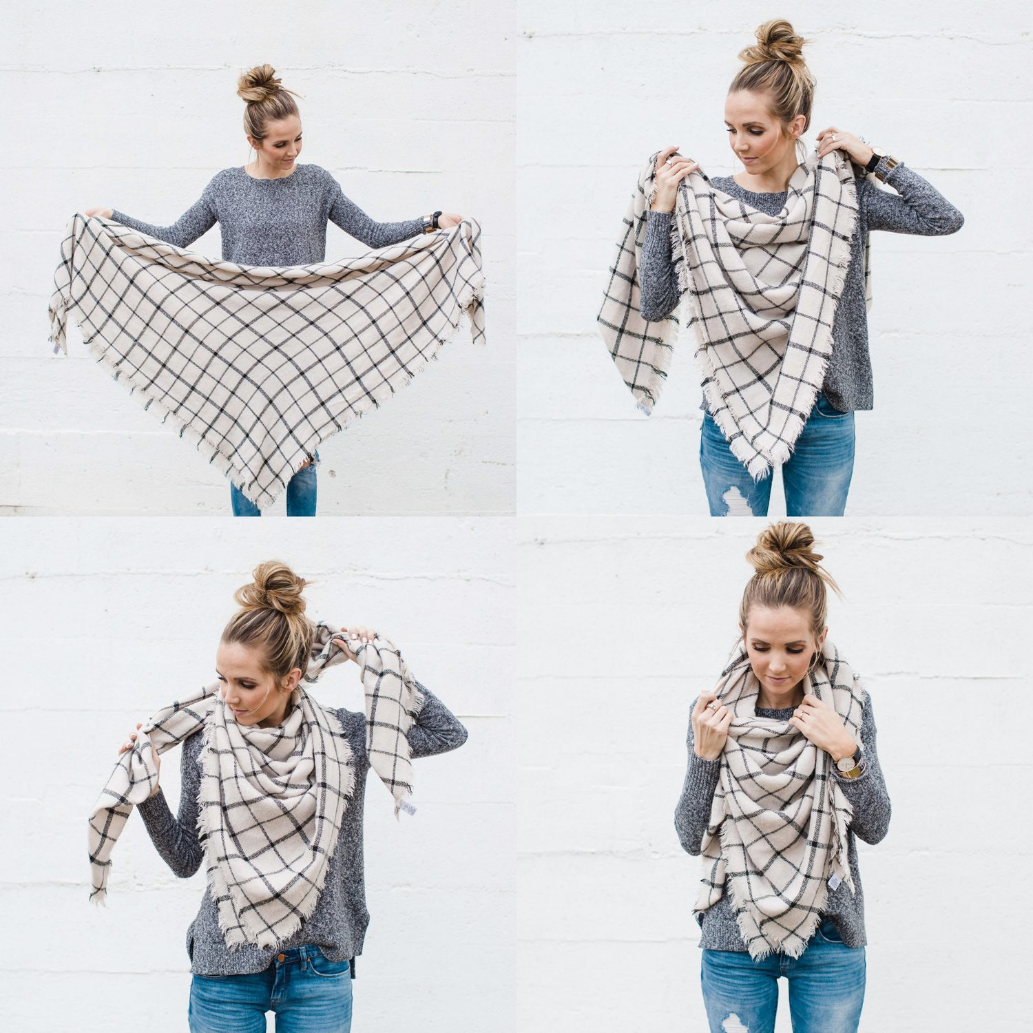How to wear a blanket scarf merricks art merricks art fold your scarf in half so its a triangle ccuart Image collections