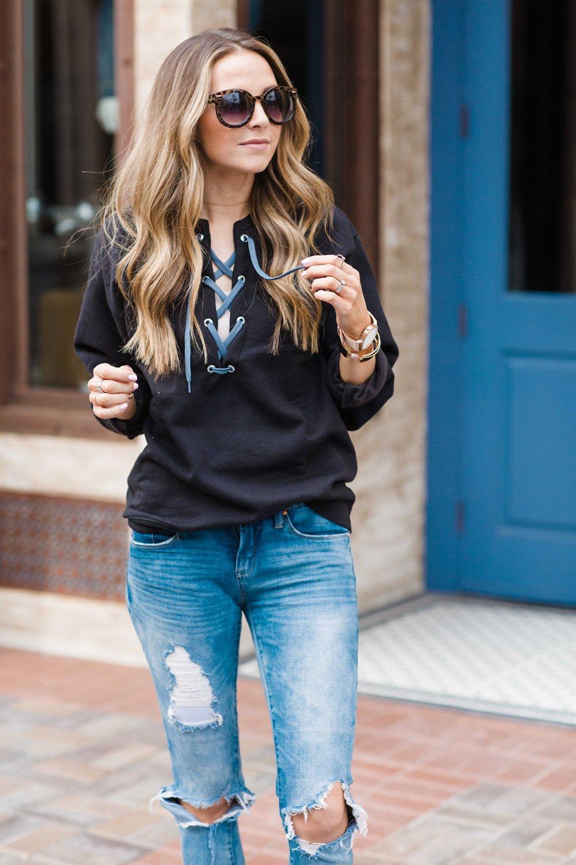 black lace up sweatshirt