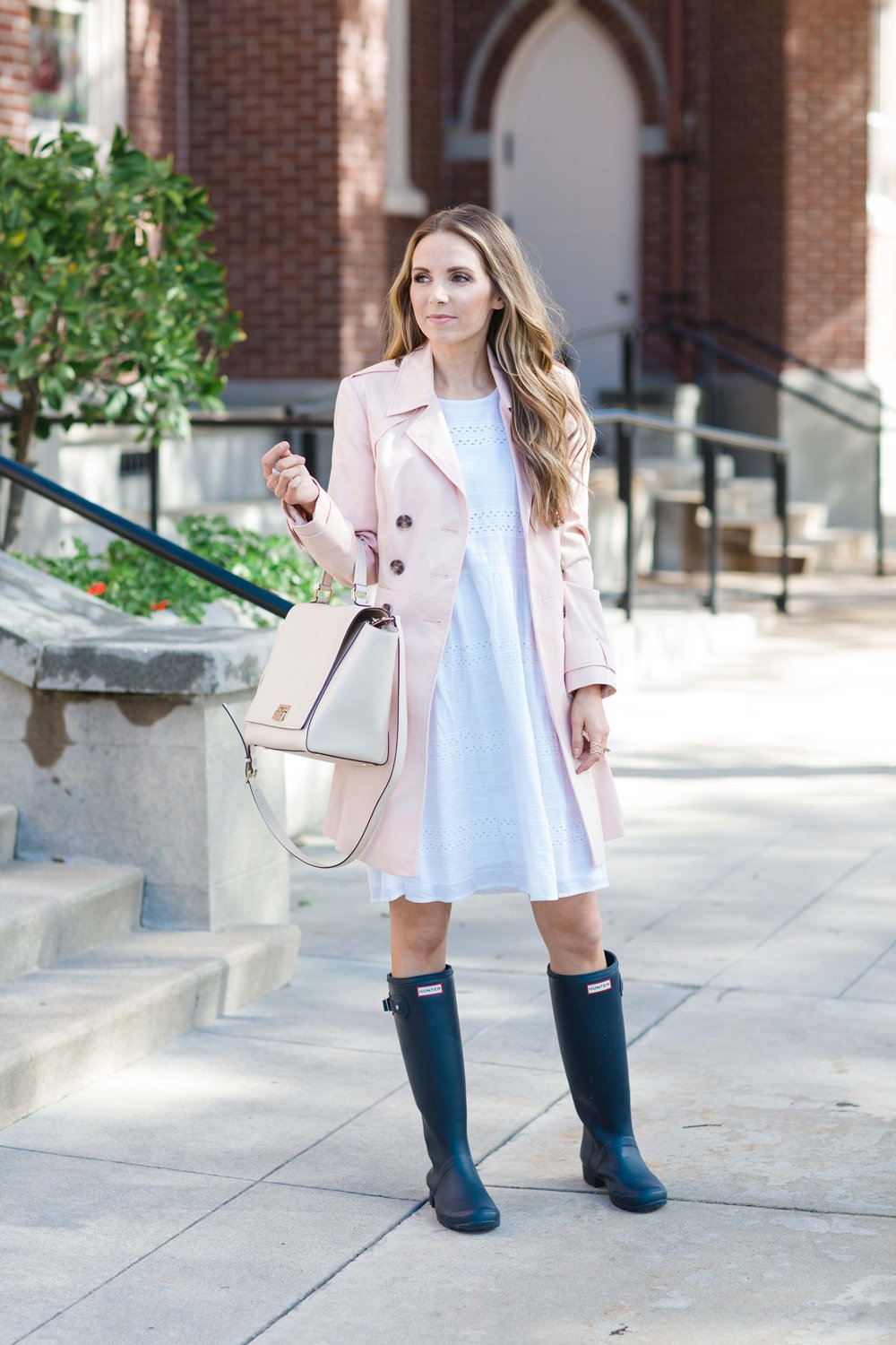 Merrick's Art Blush Trench and Hunter Boots