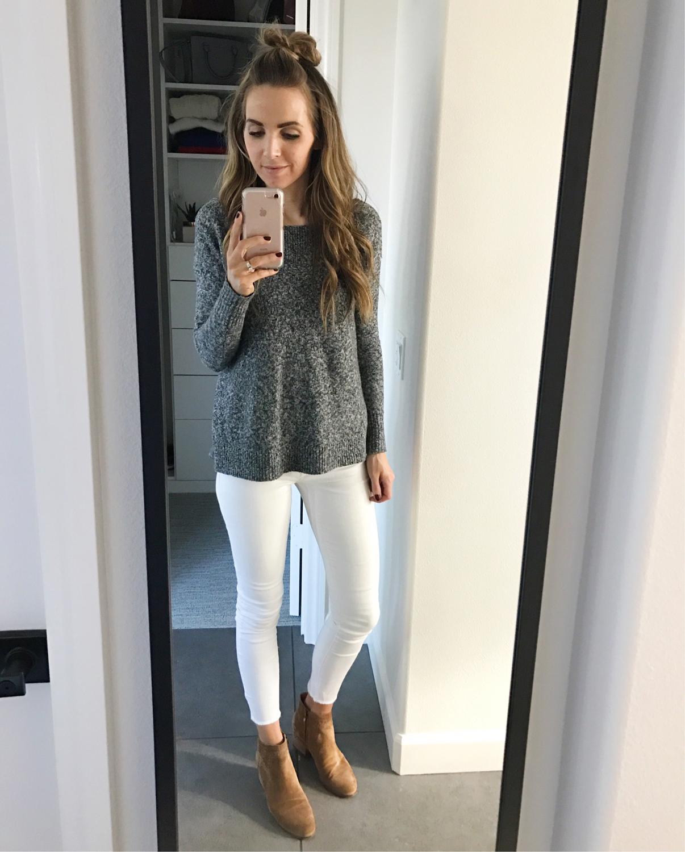 Merrick's Art Gray Sweater White Jeans