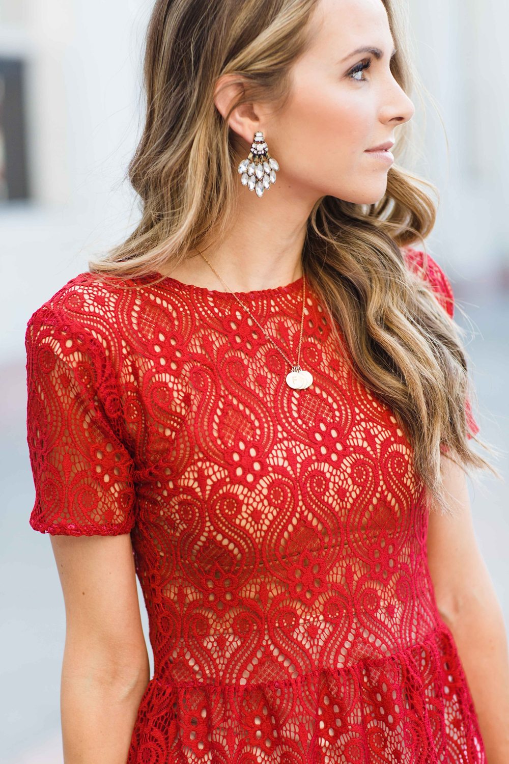 Merrick's Art Red Lace Top