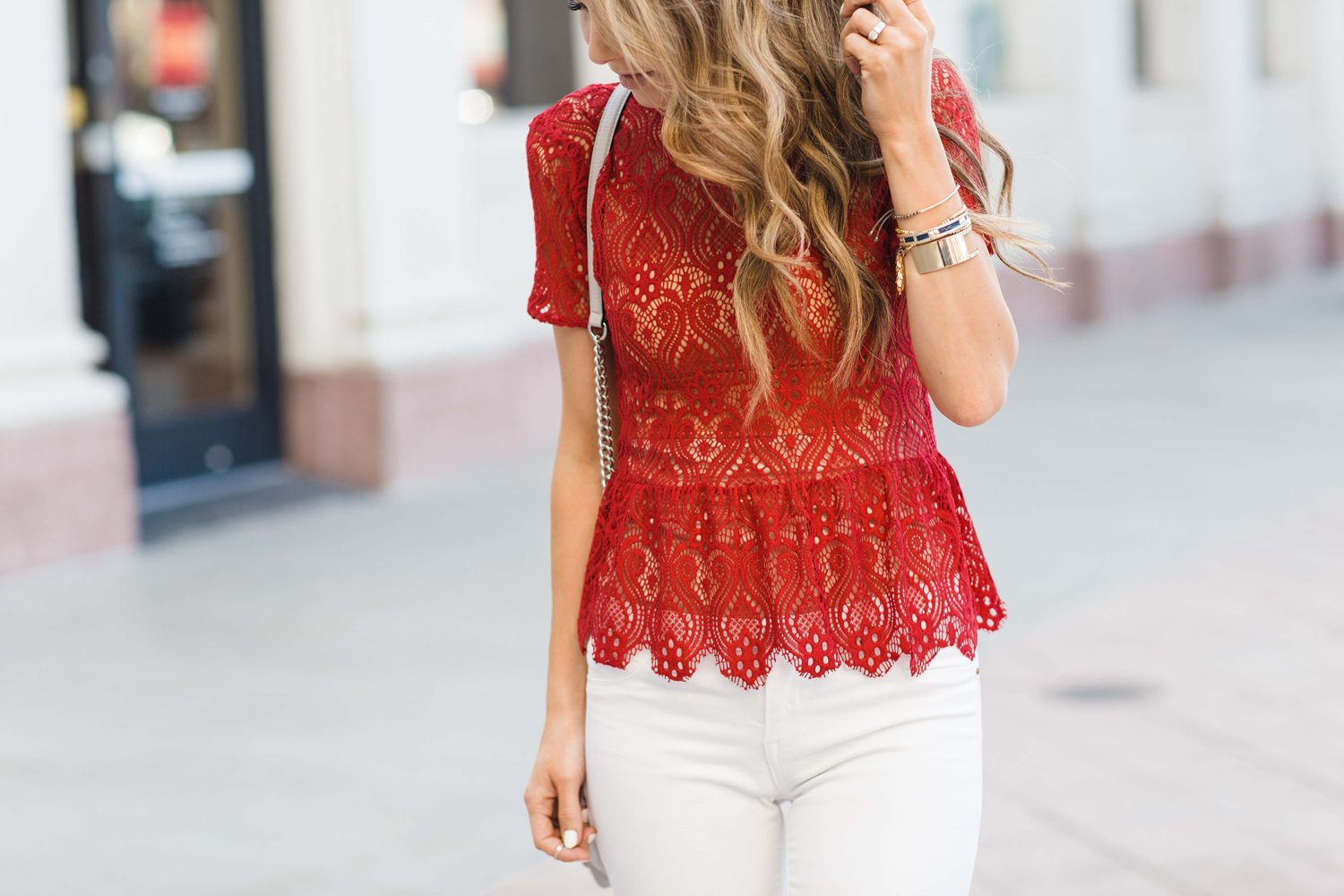 Merrick's Art Red Lace White Jeans