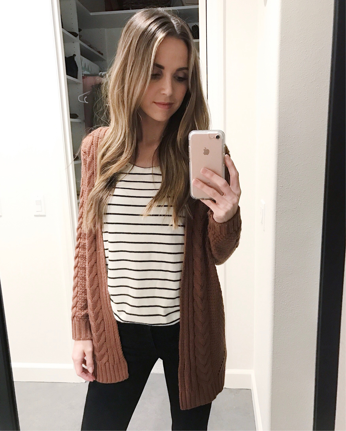 Merrick's Art Stripes and Cable Knit Cardigan